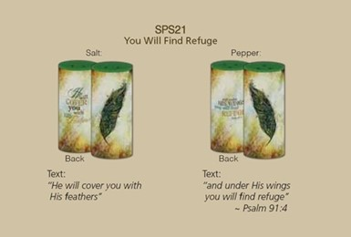 Salt & Pepper Shakers - You Will Find Refuge by Sally Barlow (SPS21)