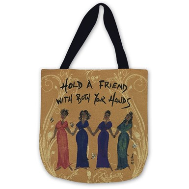 Hold A Friend With Both Your Hands Woven Tote Bag (WTB012)